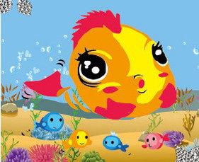 """Картинка стразами - """"Золотая рыбка"""" 21х17 см"""