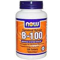 Комплекс витаминов группы В. B-100, с замедленным высвобождением, 100 таблеток.  Now Foods