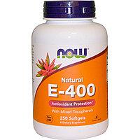 Натуральный витамин E-400 с разными типами токоферола, 250 желатиновых капсул.   Now Foods