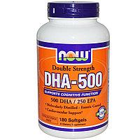 Докозагексагеновая кислота  DHA/ ДГК-500, двойная сила, 180 капсул.Now Foods.