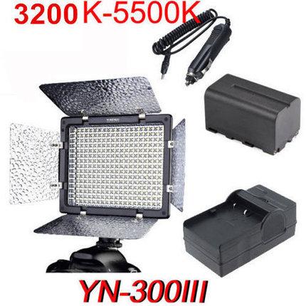 YN-300 III Накамерный LED 5500К прожектор с аккумулятором NP-F970 и  зарядным устройством, фото 2