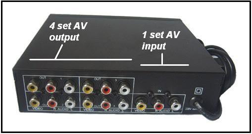 Усилитель сигнала аудио видео  на 4 выхода SB-104AV SEEBEST