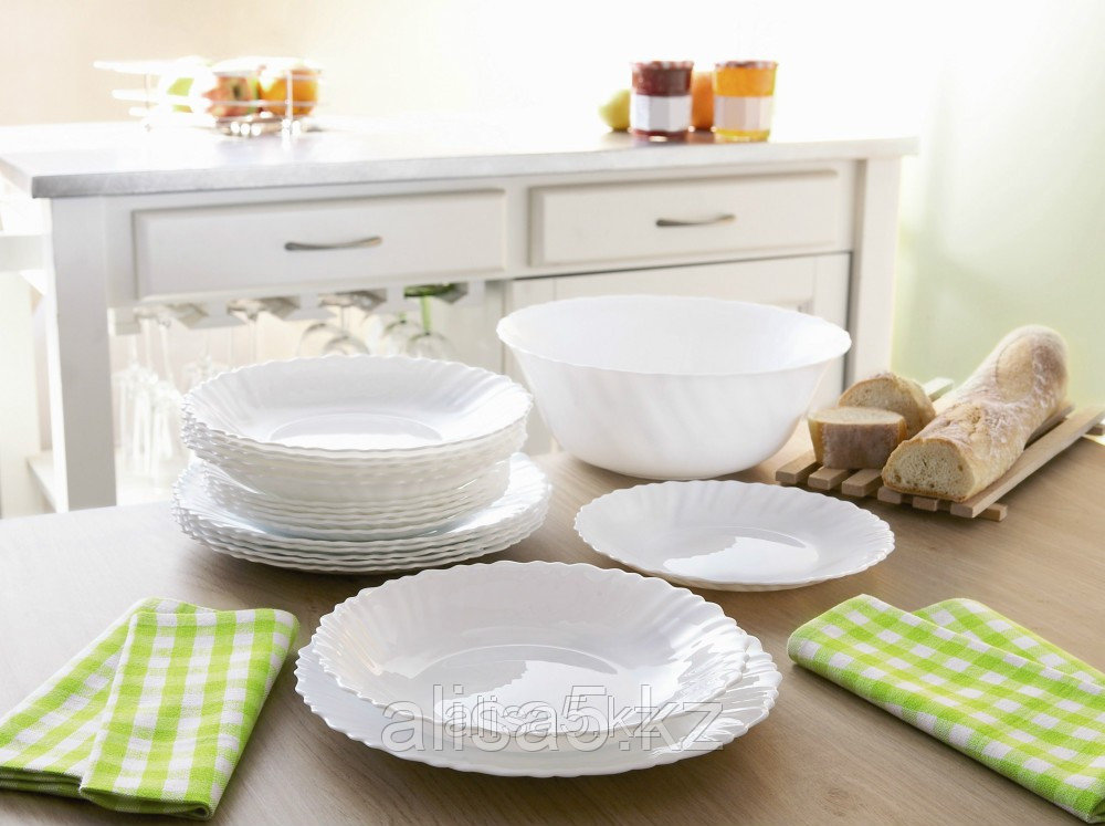 Сервиз столовый FESTON белый набор посуды 19 предметов на 6 персон