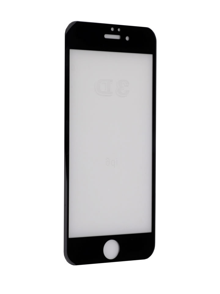 Цветное противоударное защитное стекло на Iphone 6 Plus/6S Plus (черное)