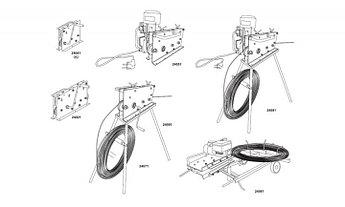 Ручная правильная машина  9 роликов, электропривод, пульт, коляска и складная моталка, для проволоки  Ø 6-10mm и обода 20x3-30x4 mm (складная)