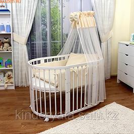 Круглая кроватка-трансформер МеrryHappy 6 в 1 (С маятником)  — Два матраса в подарок