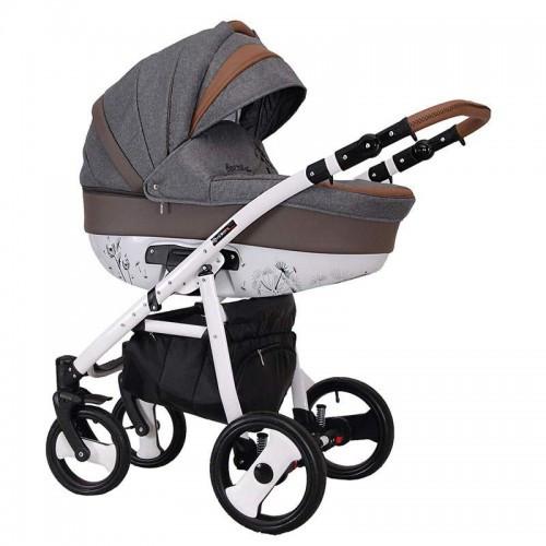 Детская универсальная коляска COLETTO SAVONA DECOR 2 В 1 (серая с коричневым)