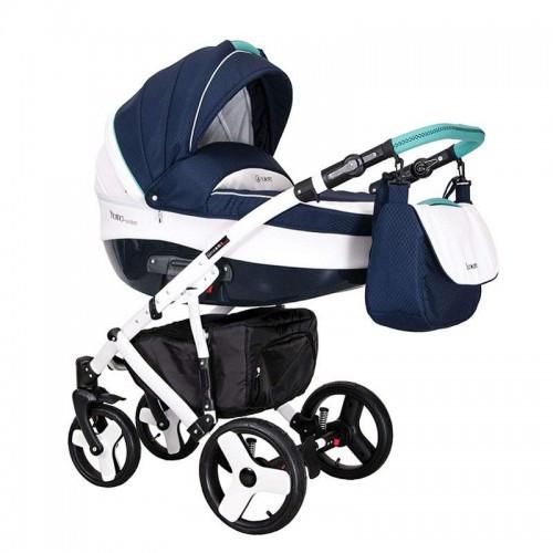 Детская универсальная коляска COLETTO  FLORINO CARBON 2 В 1 (синяя цвет/голубая ручка)