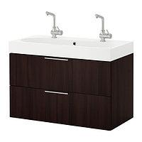 Шкаф для раковины ГОДМОРГОН/БРОВИКЕН с 2 ящ.  черно-коричневый, ИКЕА, IKEA, фото 1