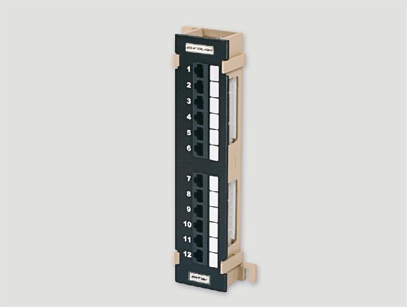 Eurolan Коммутационная панель настенная категории 5e , UTP, 12xRJ45, 568А/В, черная