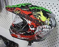 R-500N (L) Чёрно-зелёно-бело-красный Мотошлем RACER, фото 1