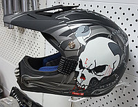 R-350 (L) Серый (ЧЕРЕП) Мотошлем RACER