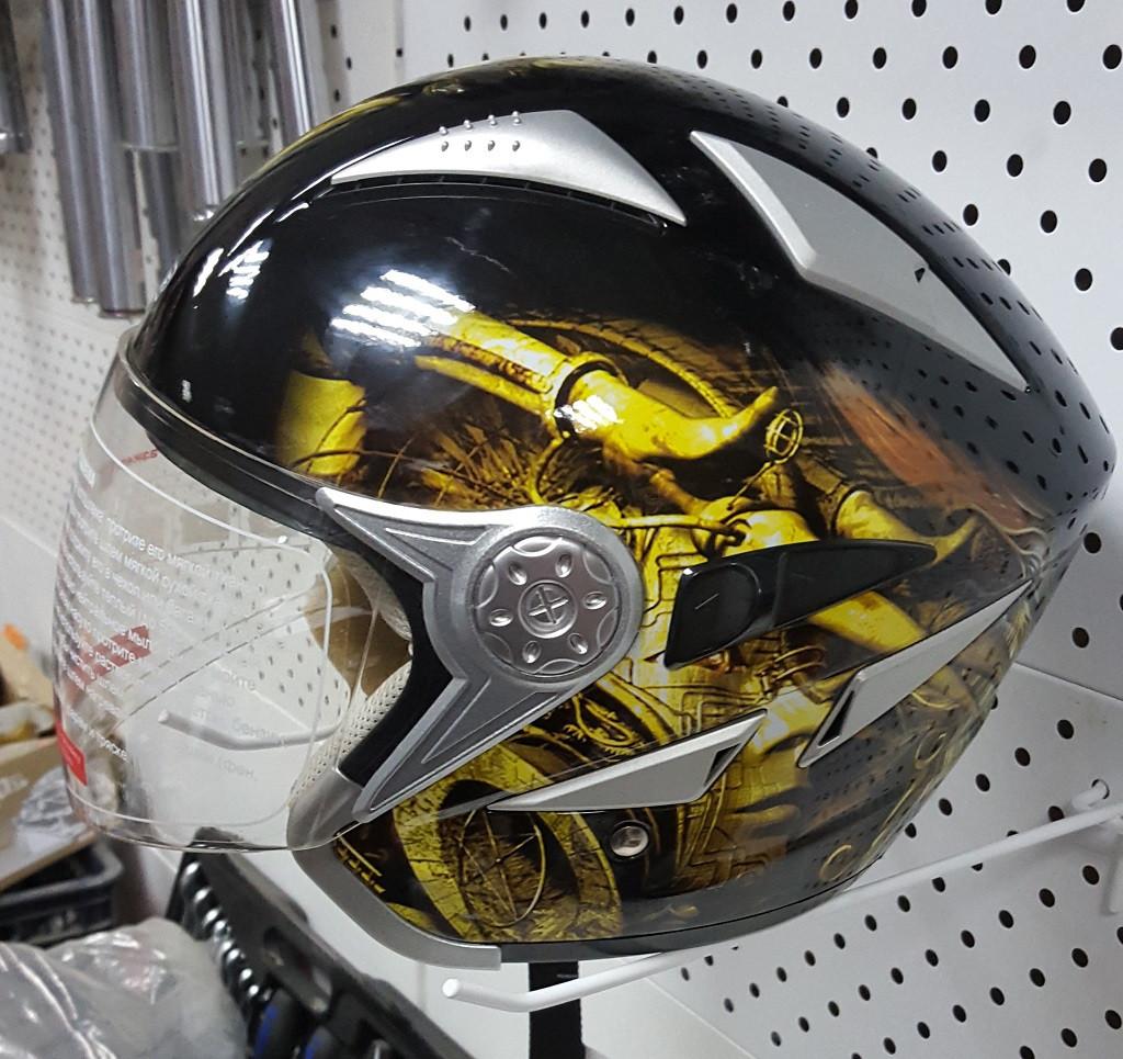 R-518N (XL) Черный с жёлтой символикой Мотошлем RACER