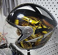 R-518N (XL) Черный с жёлтой символикой Мотошлем RACER, фото 1