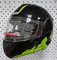 R-210B (L) Черный с зелёным Мотошлем RACER, фото 1