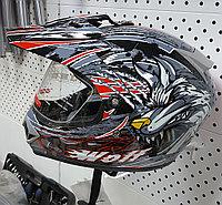 R-500N (M) Чёрно-серо-красный Мотошлем RACER, фото 1