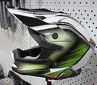 R-321 (М) Бело-зелёно-чёрный Мотошлем RACER, фото 1