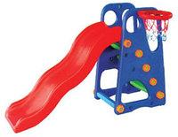 Детская пластиковая горка с баскетбольным кольцом