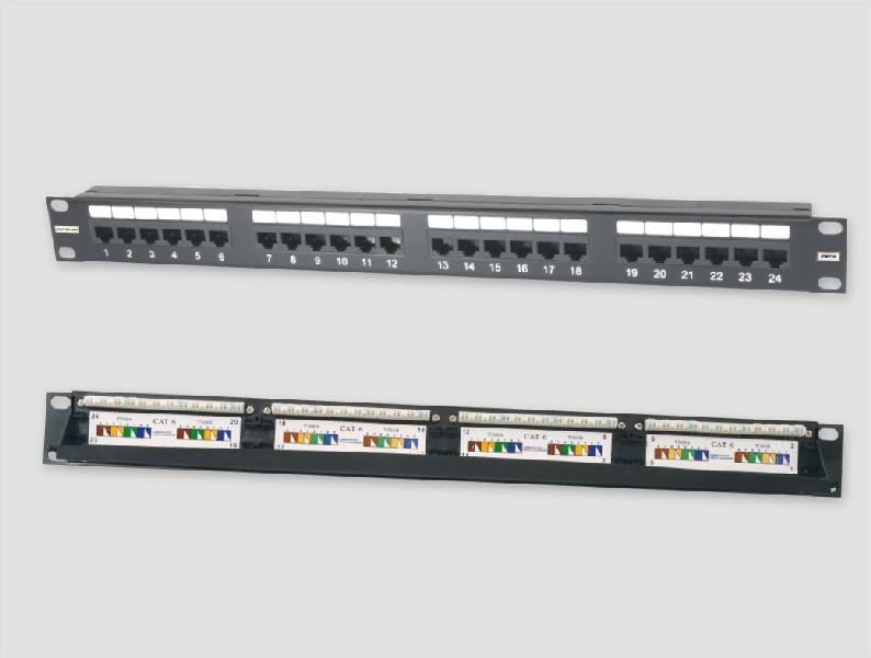 """Eurolan Коммутационная панель 1U 19"""", 24хRJ45, 568A/В, UTP, кат.6, черная"""