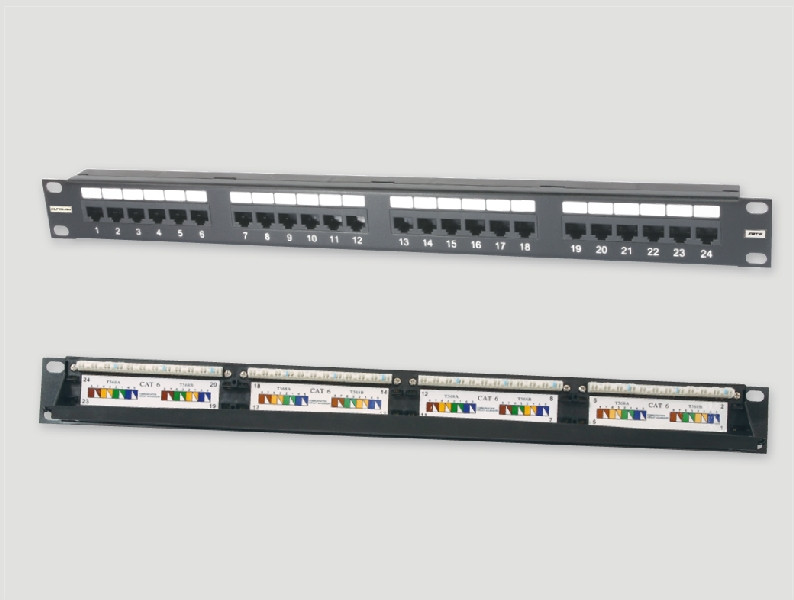 """Eurolan Коммутационная панель 2U 19"""", 48хRJ45, 568A/В, UTP, кат.6, черная"""