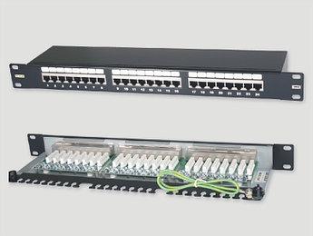 """Eurolan Коммутационная панель 1U 19"""", 24хRJ45, 568A/В, FTP, кат.6, черная"""