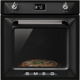Встраиваемая духовка с пиролизом черная SMEG SFP6925NPZ
