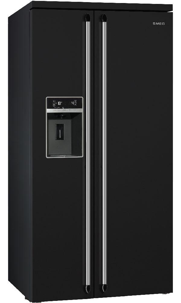 Холодильник отдельностоящий черный Side by Side Smeg SBS963N