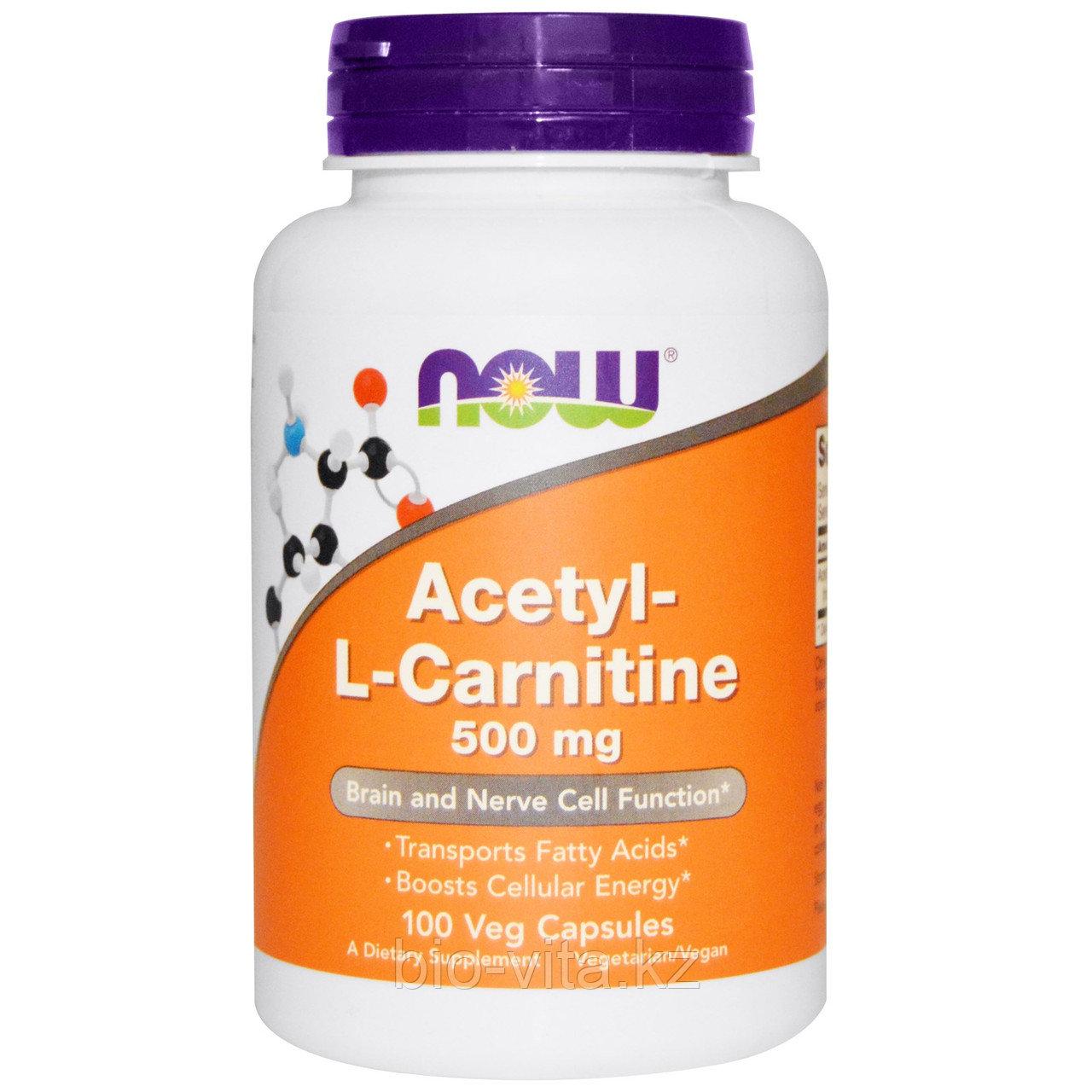 Ацетил-L-карнитин, 500 мг, 100  капсул.  Now Foods