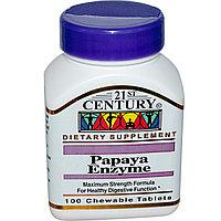 Ферменты папайи для детского пищеварения. (Papaya Enzyme), 100 жевательных таблеток.  21st Century