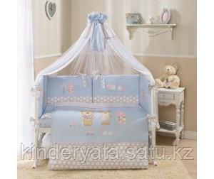 Комплект для кроватки Perina Венеция Лапушки (7 предметов), голубой