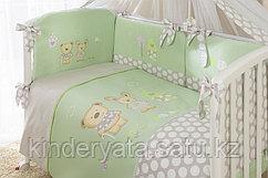 Комплект для кроватки Perina Венеция Лапушки (7 предметов), салатовый