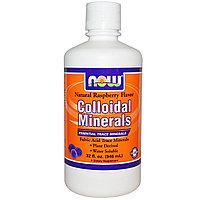 Коллоидные минералы, с натуральным вкусом малины, (946 мл).  Now Foods