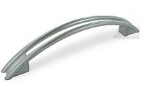 Мебельная ручка алюминий 128 мм, цвет серебристый матовый