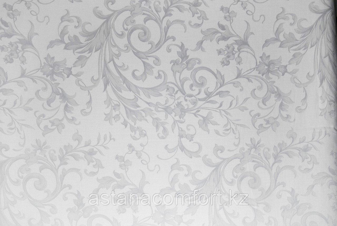 Простынь бязь – жаккард, белая с потайным глянцевым рисунком, 1,5 спальная.