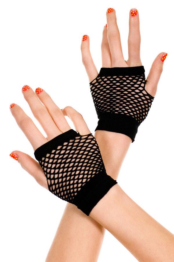 Перчатки в сетку черные