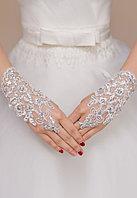 Перчатки со стразами свадебные