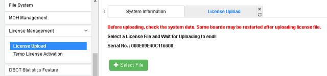 IP АТС eMG80. System Licence Upload
