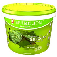Краска силиконовая акриловая SILICONE+ фасадная 10кг., Для наружных работ