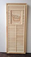 Дверь банная из липы с резьбой (коробка липа) 180*80