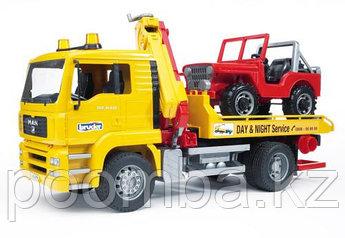 Эвакуатор MAN с джипом, Bruder Городские службы, MAN TGA Breakdown-truck Эвакуатор с краном