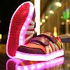LED Кроссовки детские со светящейся подошвой,малиновые комбинированные
