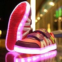 LED Кроссовки детские со светящейся подошвой,малиновые комбинированные, фото 1
