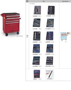 Ящик инструментальный, 6 отсеков King Tony( в наборе 173 предмета).