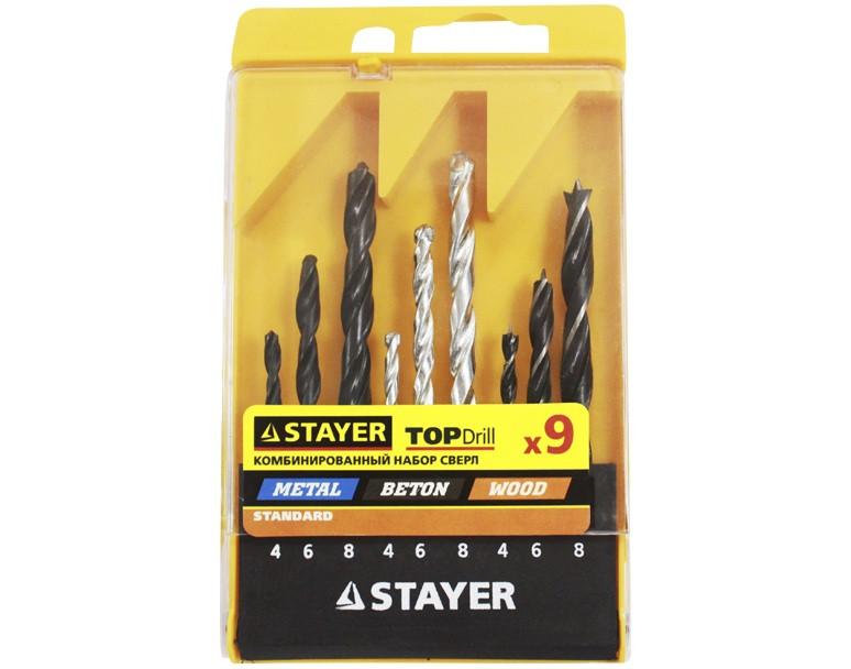 "Набор STAYER ""STANDARD"": Сверла комбинированные, дерево (4-6-8мм), металл (4-6-8мм), бетон (4-6-8мм), 9 пред."