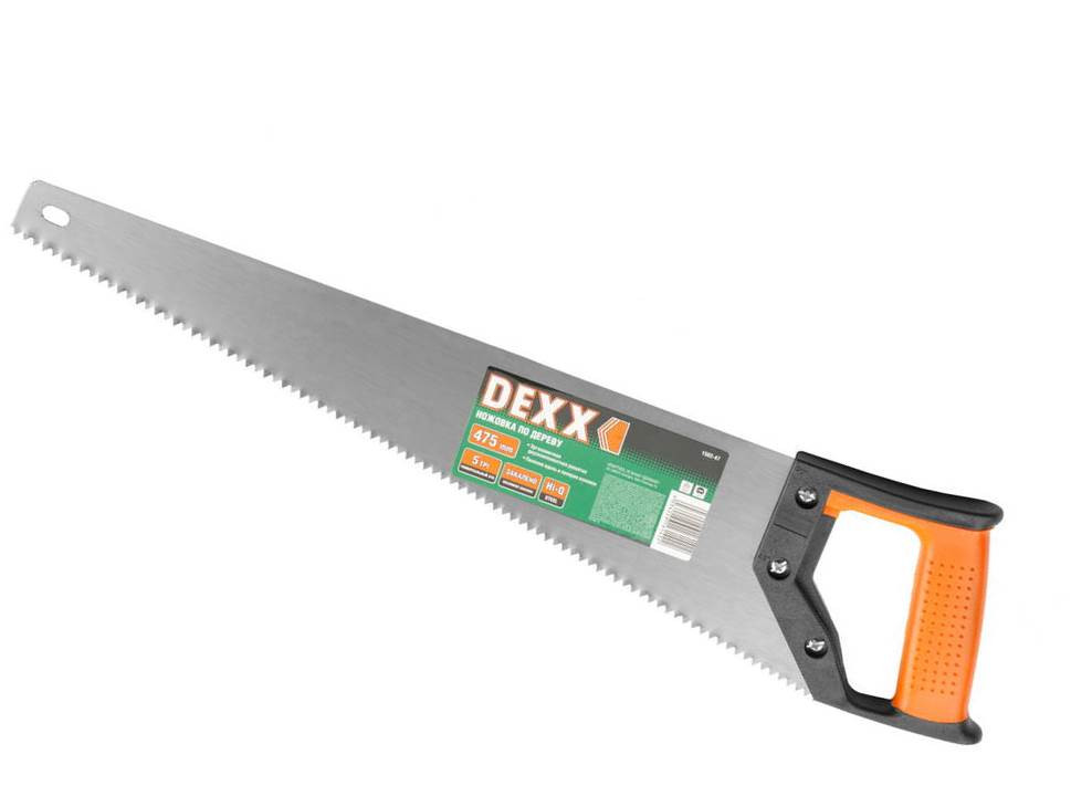 Ножовка DEXX по дереву, двухкомп рукоятка, заточенный разведенный зуб универсальной формы, объемная закалка, 5