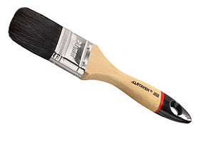 """Кисть плоская STAYER  """"UNIVERSAL-EURO"""", чёрная натуральная щетина, деревянная ручка, 100мм"""