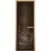 Стеклянные Дверь Бронза (Мишка) 1900 х 700 (коробка лиственная)