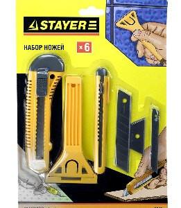 "Набор STAYER Ножи и скребки ""STANDARD"" для ремонта, 6 предметов"