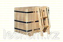 Квадратная купель из кедра. Размеры: 1500х1500х1200 мм