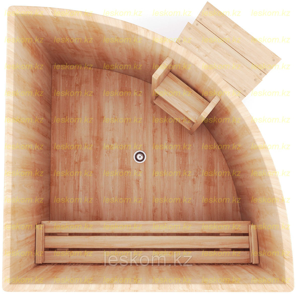 Угловая купель из кедра. Размеры: длина 1500 мм* 1500 мм* 1200 мм